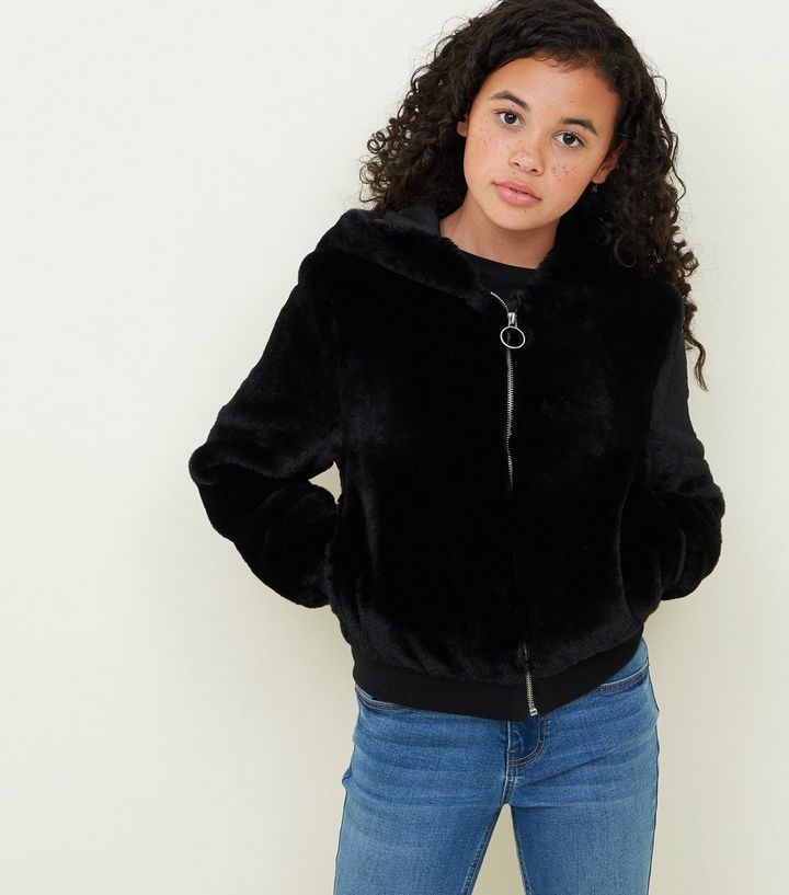 Girls Black Faux Fur Hooded Bomber Jacket  aa843798a