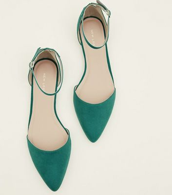 Green Suedette Cut Out Back Pointed