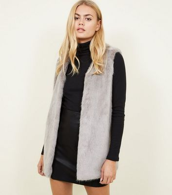 Grey Faux Fur Gilet