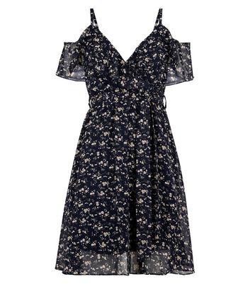 QED Navy Floral Cold Shoulder Dress New Look