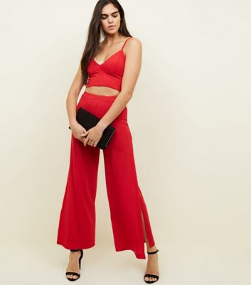 Red Ribbed Bralet New Look