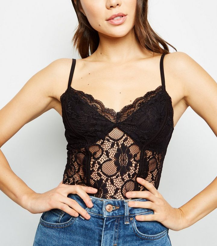 Black Sweetheart Neck Lace Bodysuit Add to Saved Items Remove from Saved  Items 40e0927b2