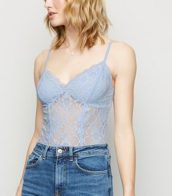 Pale Blue Sweetheart Neck Lace Bodysuit