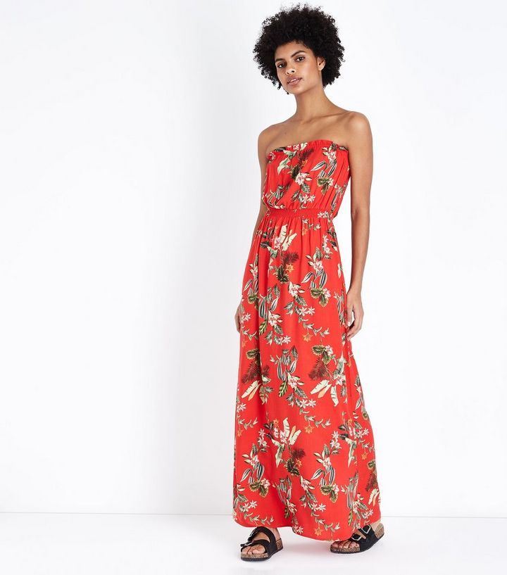 029df1c853 Red Tropical Floral Bandeau Maxi Dress | New Look