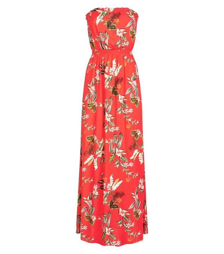 d93b8a42dae Red Tropical Floral Bandeau Maxi Dress Add to Saved Items Remove from Saved  Items