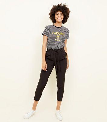 Taille Froncée Pantalon New Fuselé Look Noir À UxSvZ