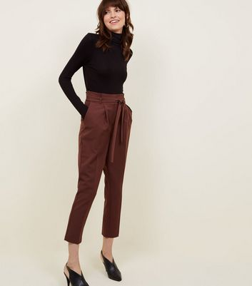 Rust Paperbag Waist Tapered Trousers
