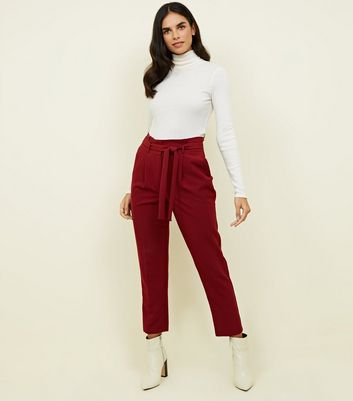Dark Red Paperbag Waist Tapered Trousers