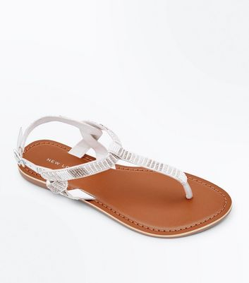 White Leather Beaded Twist Side Flat Sandals