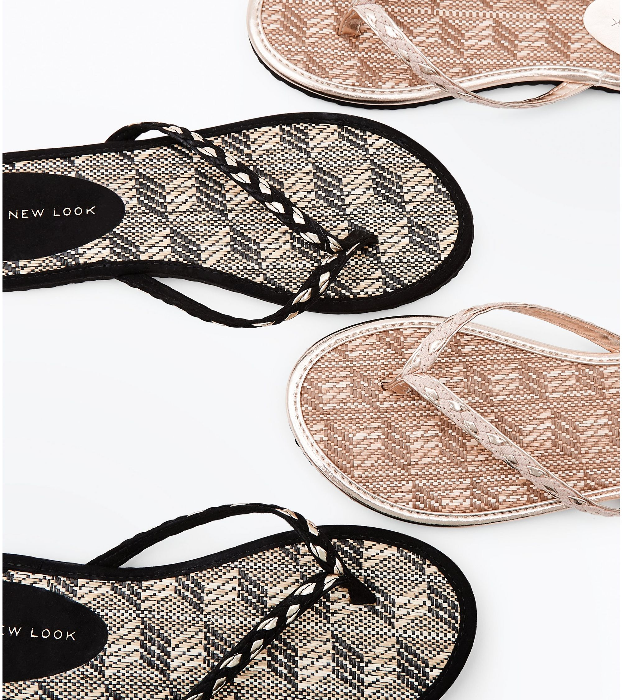 3b5402296e56 New Look 2 Pack Black and Tan Woven Straw Flip Flops at £6.29