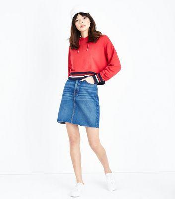 Tall Blue Fray Hem Denim Skirt New Look