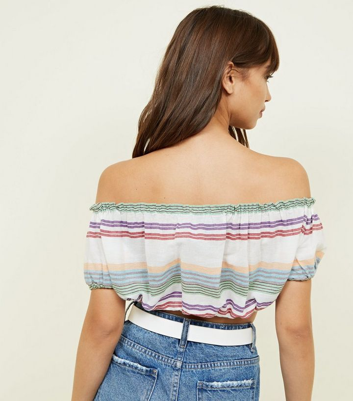 9e2dd77808c White Multi Stripe Gathered Bardot Crop Top Add to Saved Items Remove from  Saved Items