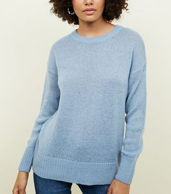 Pale Blue Curved Hem Jumper