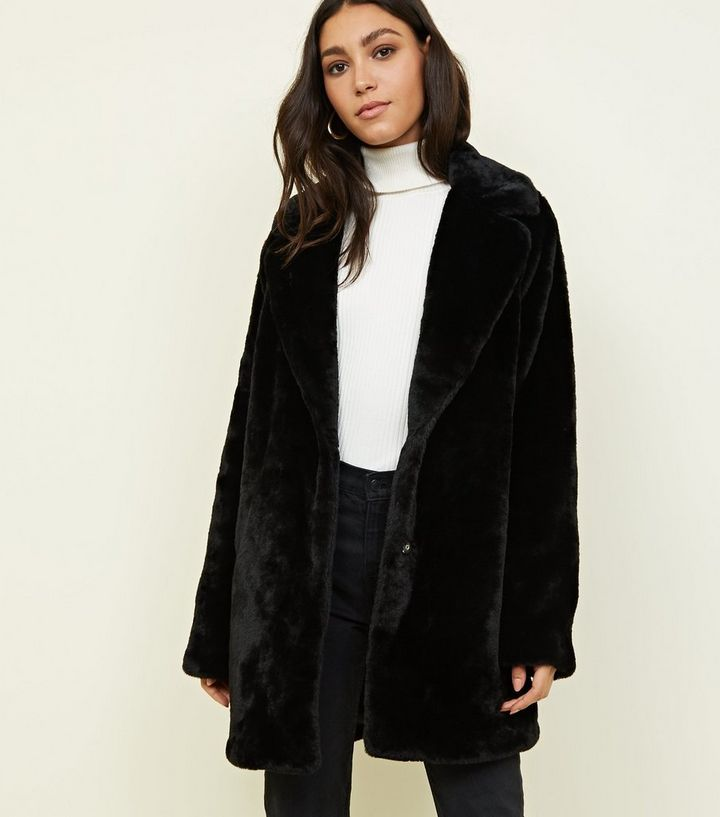 b326d42b20 Tall Black Faux Fur Coat | New Look