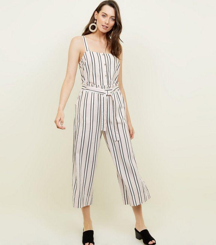 9ffd925e68 White Stripe Linen Blend Button Front Cami
