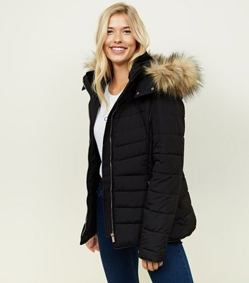 Black Padded Faux Fur Trim Puffer Coat | New Look