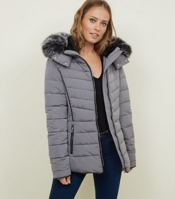 Tall Pale Grey Padded Puffer Jacket