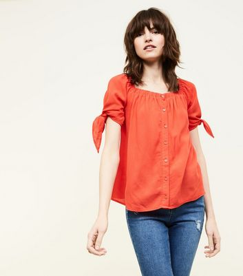 Red Square Neck Button Front Blouse
