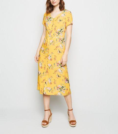 b079cd5f9 ... Yellow Floral Button Up Tea Midi Dress ...