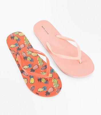 2 Pack Coral Pineapple Print Flip Flops New Look