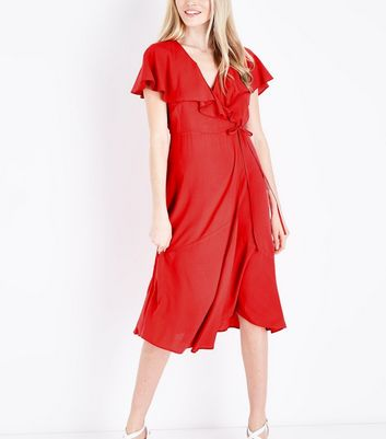 Red Ruffle Trim Midi Wrap Dress