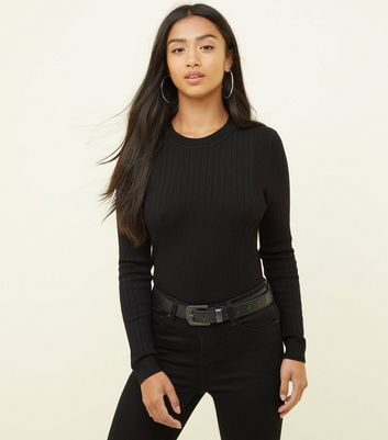 Petite Black Crew Neck Ribbed Top