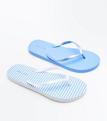 2 Pack Blue Stripe Flip Flops New Look
