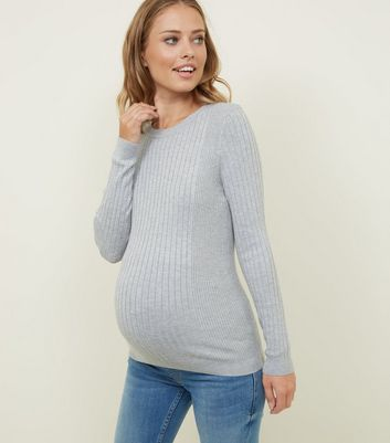 Maternity Pale Grey Long Sleeve Ribbed Top