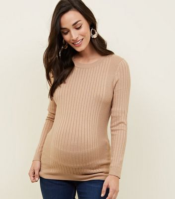 Maternity Camel Long Sleeved Ribbed Top