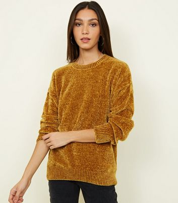 Tall - Pull en chenille moutarde