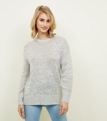 Tall Pale Grey Longline Knitted Jumper