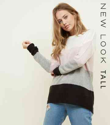 Tall White Colour Block Knitted Jumper