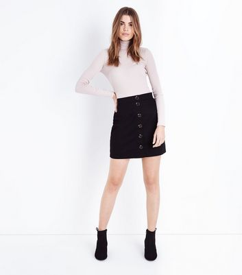 Black Twill Button Front Mini Skirt New Look