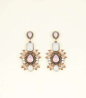 Multi Colour Crystal Embellished Chandelier Earrings
