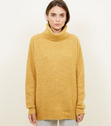 Mustard Slouchy Roll Neck Jumper