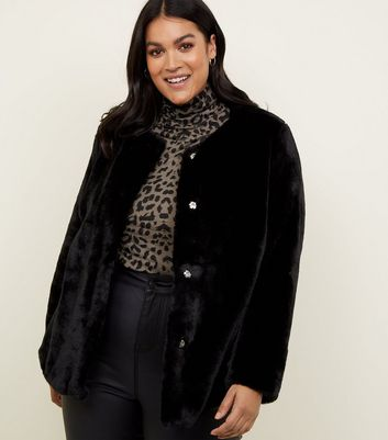 Curves Black Faux Fur Coat