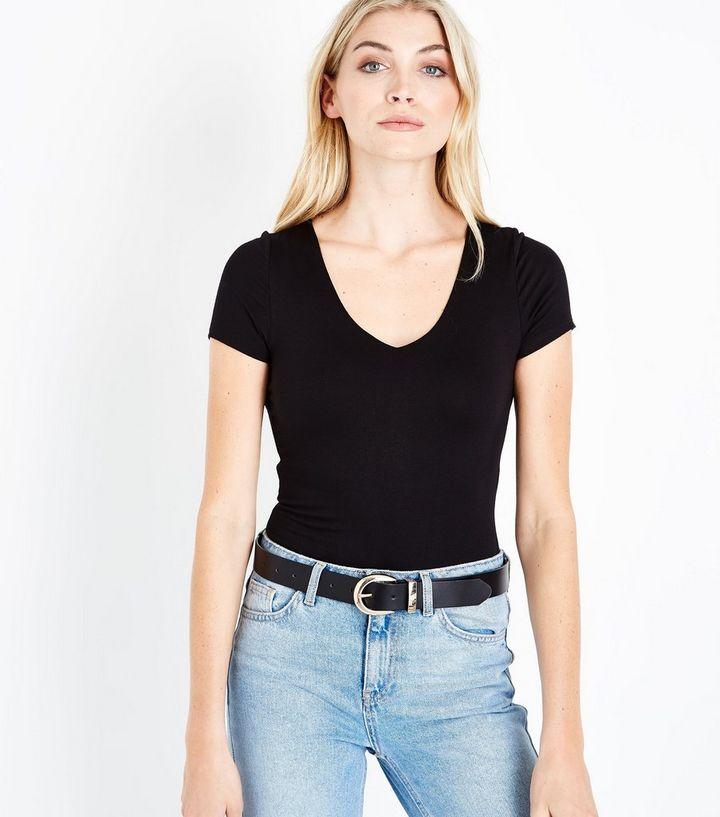 de21d214b080 Black V Neck Short Sleeve Bodysuit | New Look