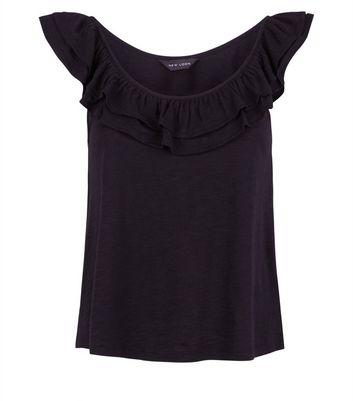 Black Frill Trim Vest Top New Look