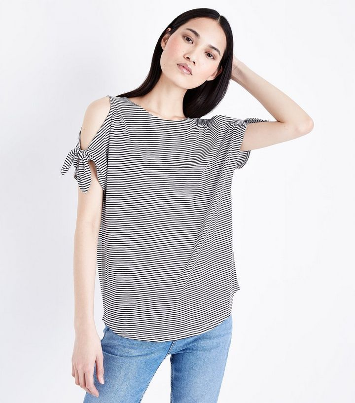 dfe753b581634a White Stripe Tie Cold Shoulder T-Shirt