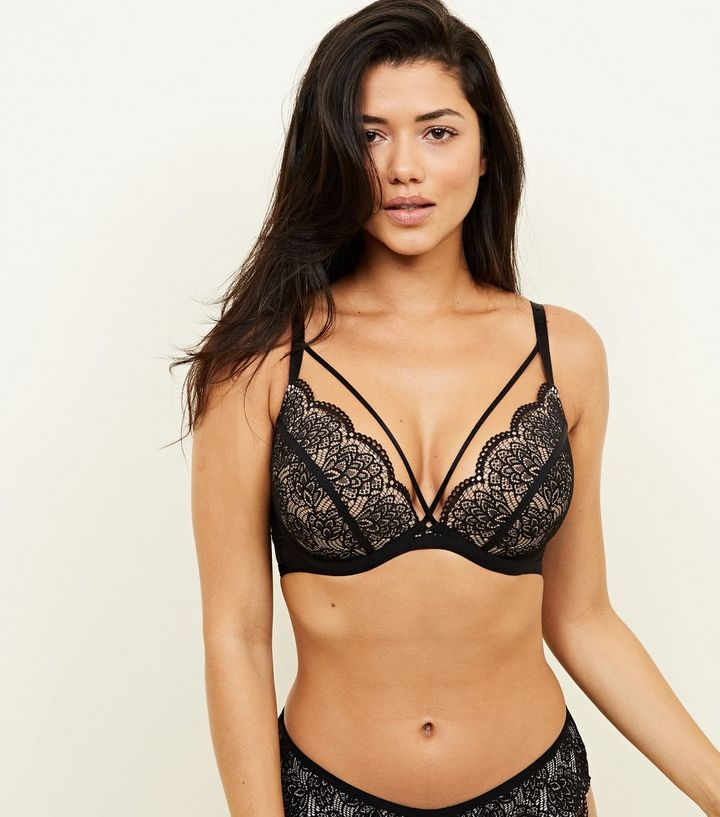 a232e560dc Black Lace Scallop Edge Push-Up Bra