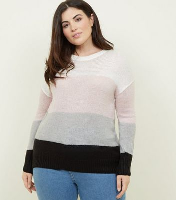 Curves Cream Colour Block Jumper