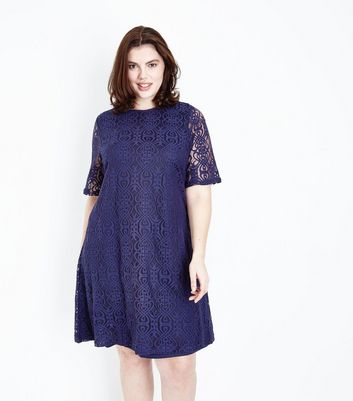 Mela Curves Navy Lace Tunic Dress