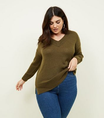 Curves Khaki V-Neck Longline Jumper