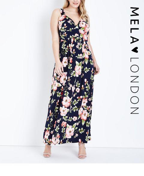 88051aaee67 ... Mela Curves Blue Floral Print Maxi Dress ...