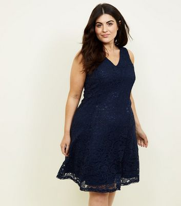 Mela Curves Navy Lace Glitter Dress