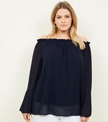 Mela Curves Navy Bell Sleeve Bardot Top