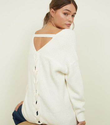 Off White Ribbed Lattice Back Jumper