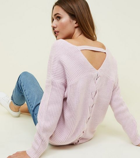 Lilac Ribbed Lattice Back Jumper