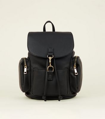 Black Leather-Look Panel Drawstring Backpack