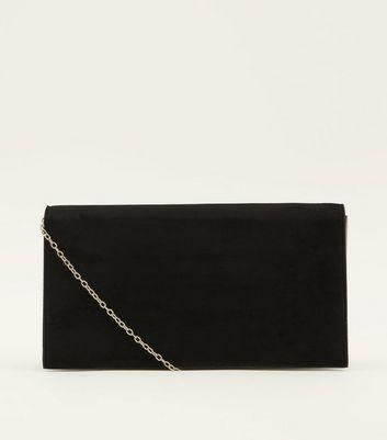 black-side-bar-foldover-clutch-bag by new-look